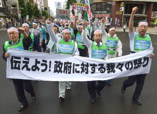 TPP pact protesters march through the streets of Sapporo, Hokkaido, on Thursday, July 25.