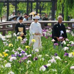 Bride walking along pathway in colorful iris garden to bridal boat. Bridal boat wedding ceremonies are performed also during the day.