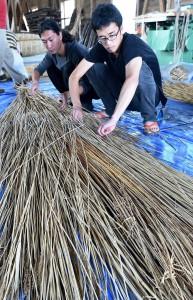 Putting reeds together in same direction.