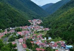 Center of Hinoemata village is surrounded by steep mountains.