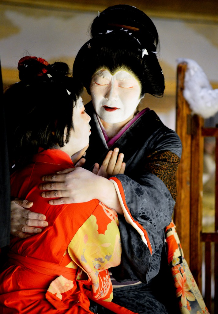 Climax with blind mother showing deep love to daughter. Audience burst into applause. (in Hinoemata, Fukushima Prefecture)