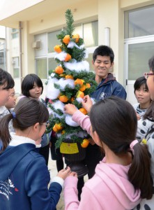 Orange peel ornamented tree made by students of Yawatahama Shirahama Elementary School