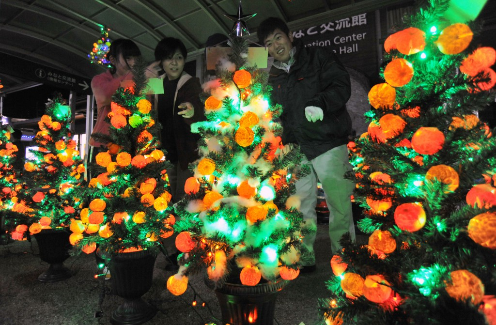 Christmas Orange Festival 2014 organizers turning lights of orange trees (in Yawatahama-shi, Ehime Prefecture)