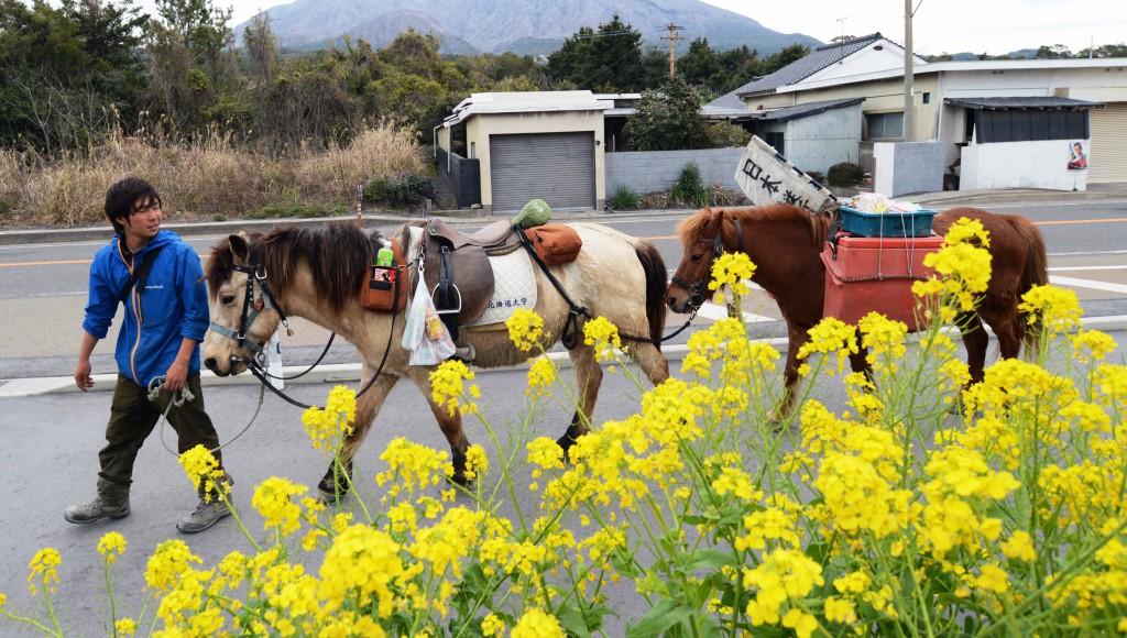 Kohei leading Yuki (center) and Mitchy (right) on Sakurajima Island. He always pays attention to health of his mates (in Kagoshima Prefecture)