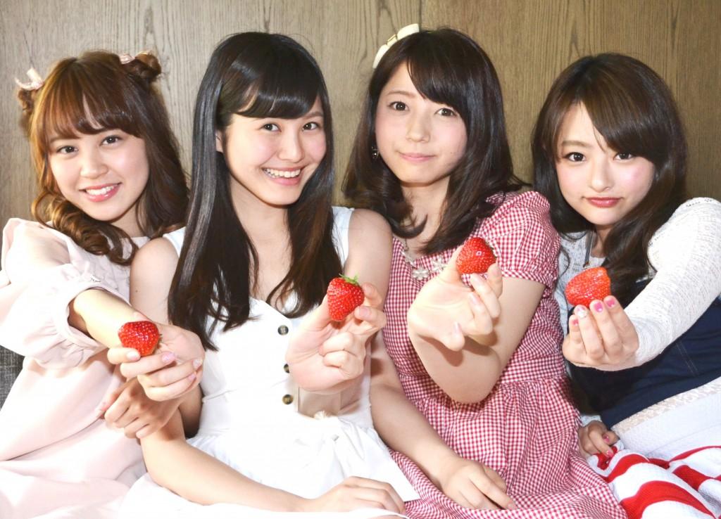 From left to right, Haruka Sakata (19), Saya Ayase (18), Yumi Kuwahara (21) and Miho Nishi (21)