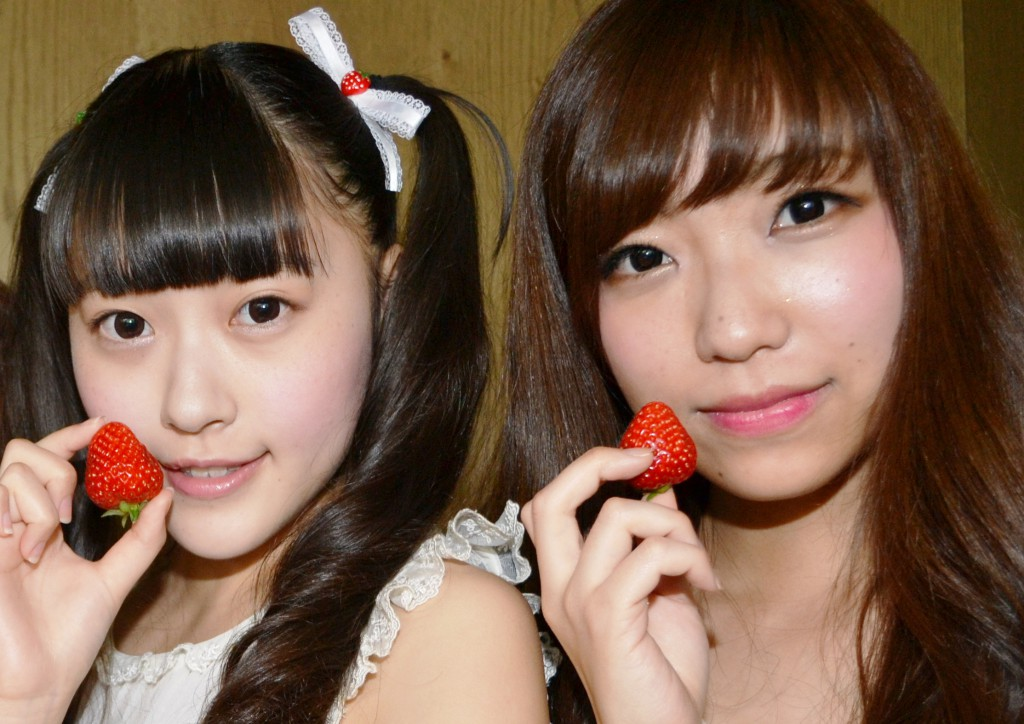 "Rurika Miyajima (16) (left) and Ayumi Sotozuka (22). Rurika is also the member of the Japanese pop girl group ""Musubizm"""