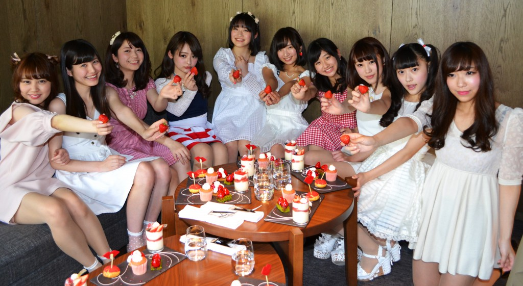 "Team ""Miss Ichigo"" celebrating kick-off. Ten of all members were gathered (on April 18, 2015, in Shinjuku-ku, Tokyo)"