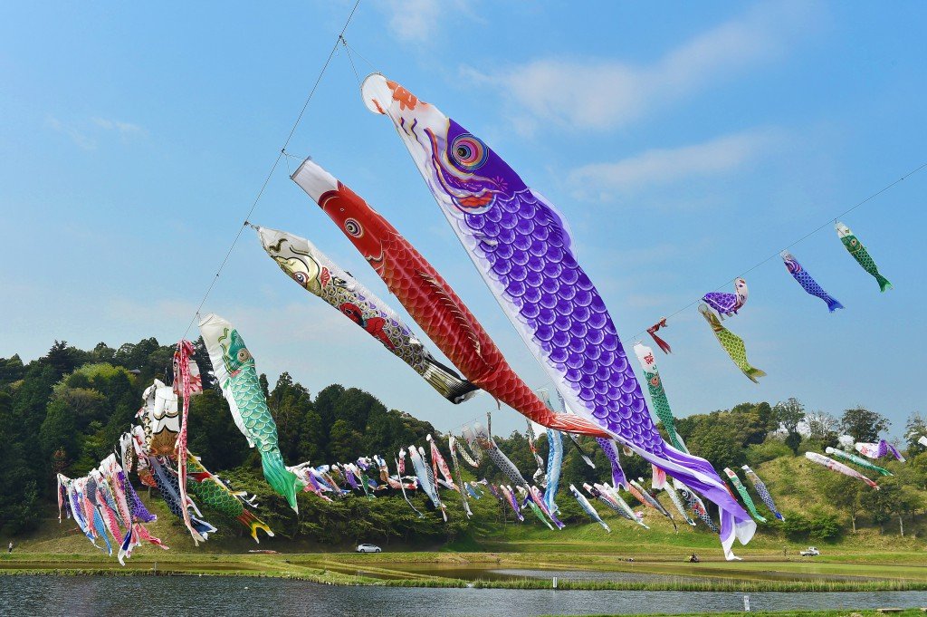 Koinobori streamers flying over rice paddies and pond in rice planting season (in Katori-shi, Chiba Prefecture)