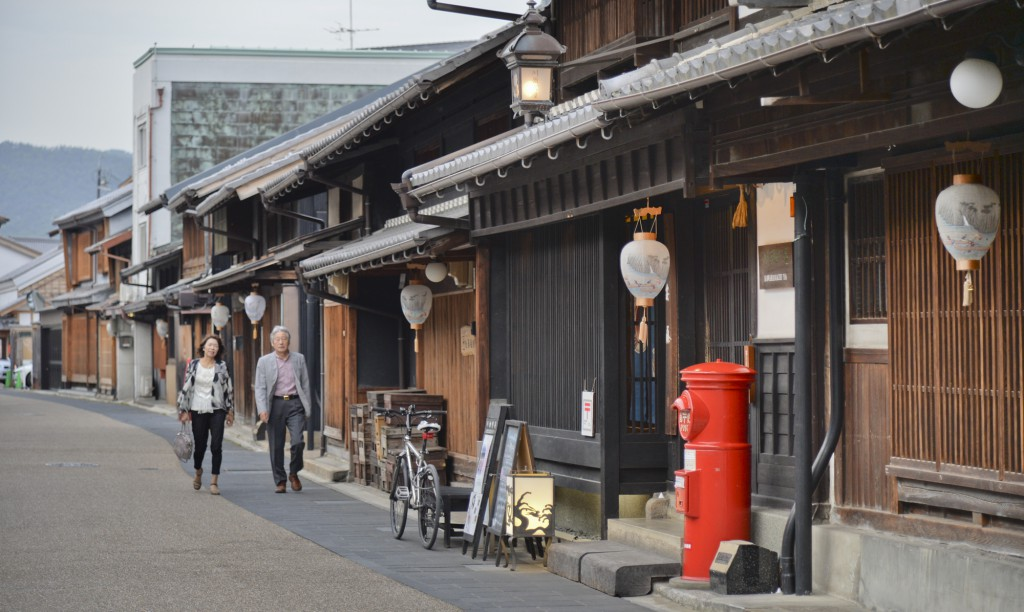 Traditional Japanese houses stand in rows near the Ukai Tour Boat-Pier