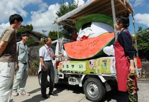 Kometta-kun lantern made by local farmers and members of JA Aichi Toyota Obara branch