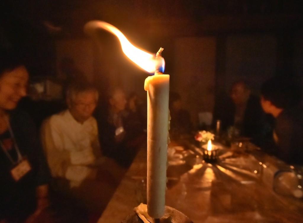 Japanese candles give big flickering light and very little smoke (in Kurume-shi, Fukuoka Prefecture)