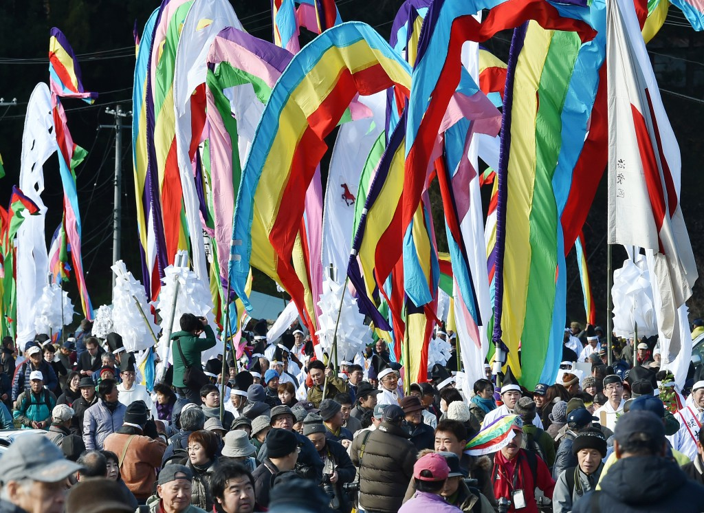 Colorful banner parade is a popular attraction for tourists