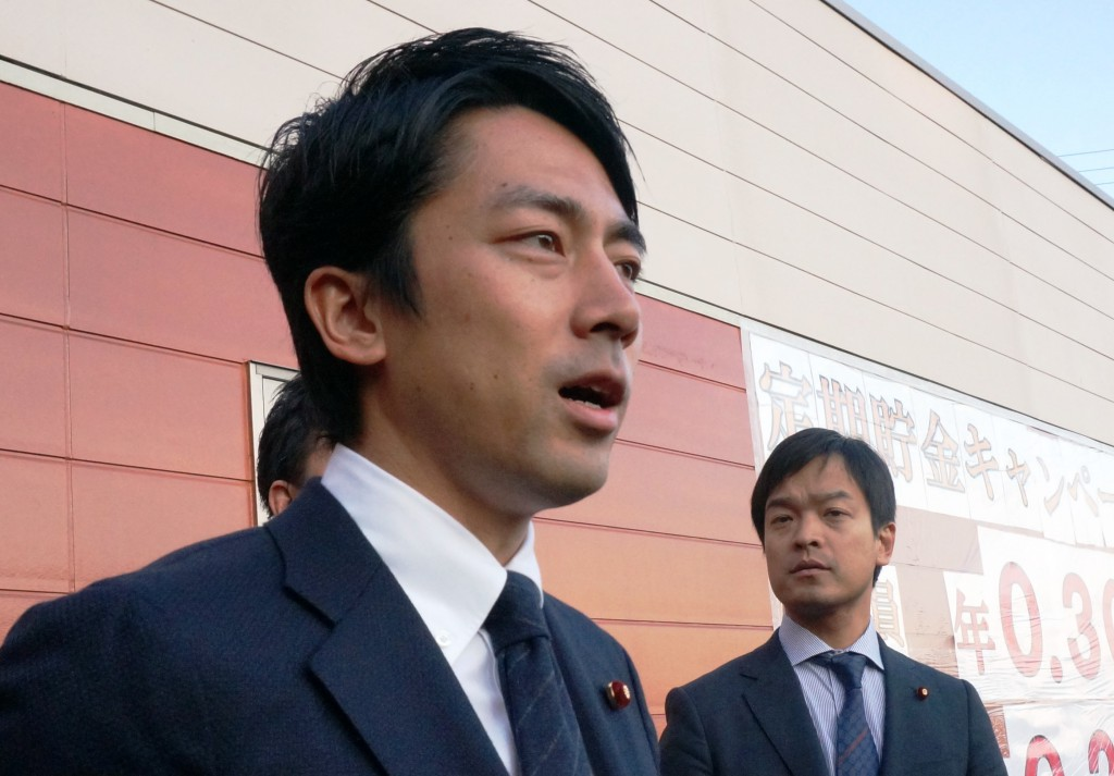 Shinjiro Koizumi speaks to reporters in Tsuchiura, Ibaraki Prefecture, on Wednesday, Jan. 13, after visiting farming materials facilities in the prefecture